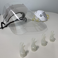 Clear face shields and valves are focuses of the efforts of the Luddy makerspaces and FAMES Lab.